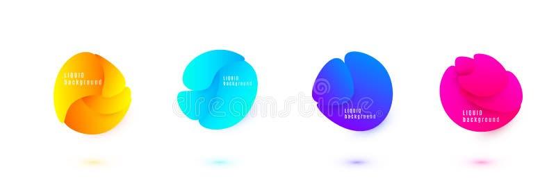 Abstrakt v?tskeformvektordesign Fluid lutningbakgrund Isolerade grafiska vågbeståndsdelar med den geometriska cirkeln royaltyfri illustrationer
