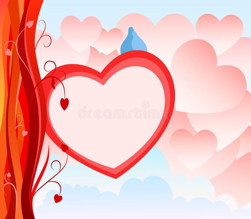 abstrakt valentin för hjärta för bakgrundskortdag stock illustrationer