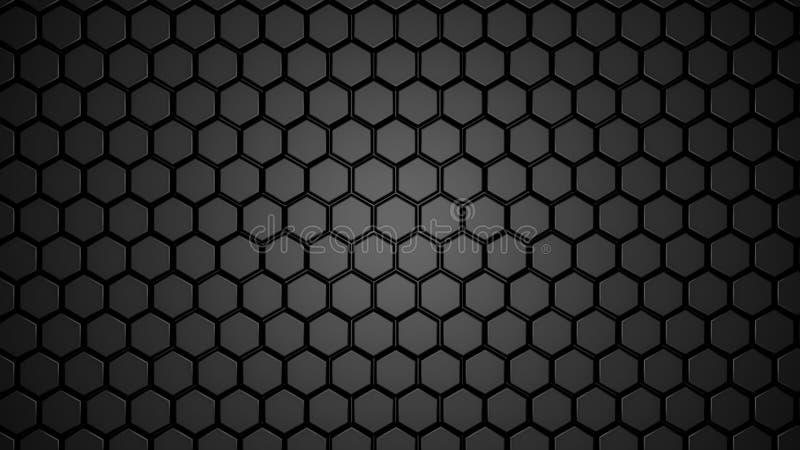 Abstrakt varvat svart sexhörnigt geometriskt Futuristisk sexhörningsyttersida Framtida science fictionbegreppsbakgrund royaltyfri illustrationer