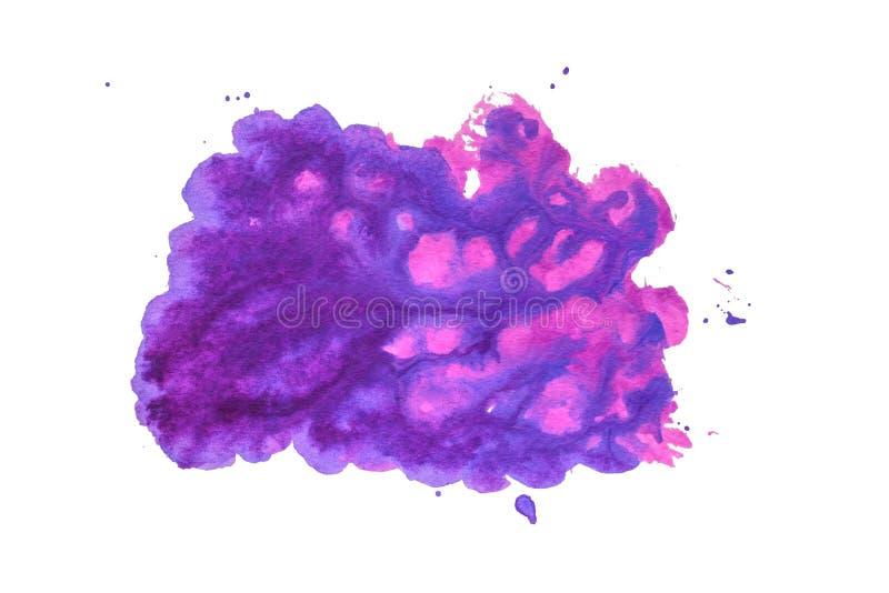 Abstrakt vattenfärg av purpurfärgad färg Handgjord fläck arkivfoton
