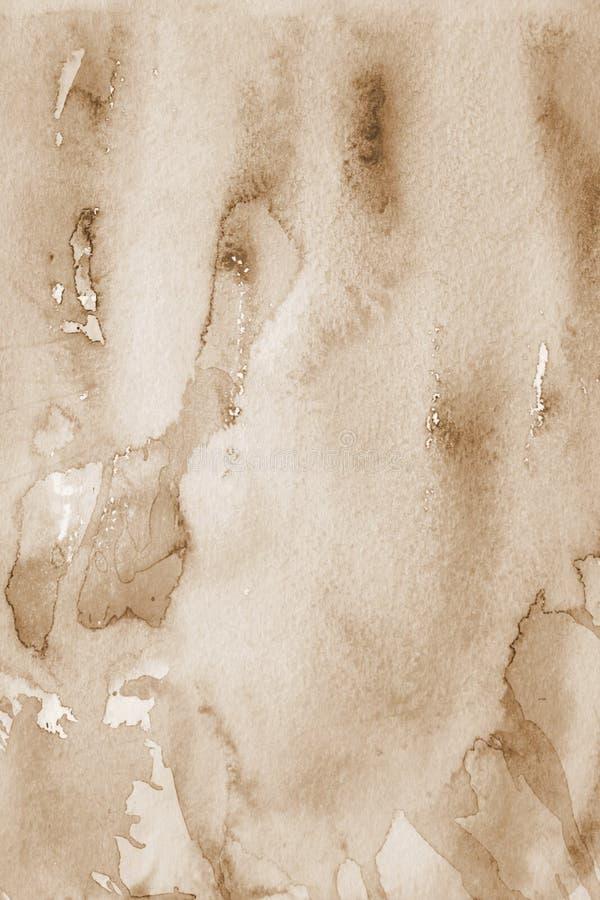 abstrakt vattenfärg för textur för bakgrundspapper I tonad sepia royaltyfria foton