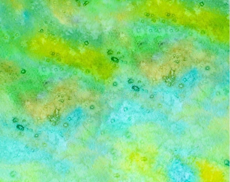 Abstrakt vattenfärgbakgrund av gul grön färg Inskriften av r?tt f?rgar lokaliserat ?ver text av vit f?rgar Turkospapperstextur royaltyfria foton