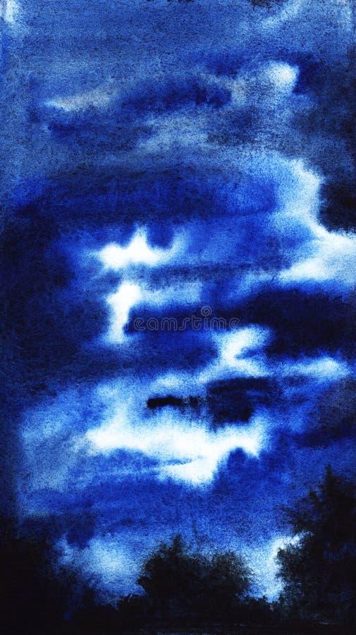 Abstrakt vattenfärgbakgrund med himmel och en silho för natt en molnig stock illustrationer