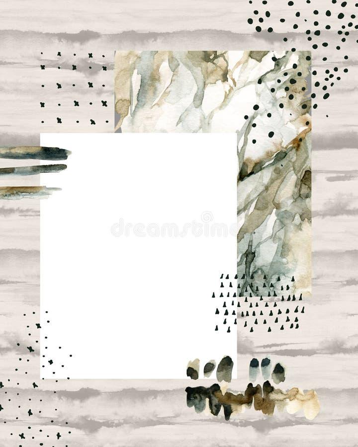 Abstrakt vattenfärgbakgrund med klotter, marmorera som är grained, grunge, papperstexturer vektor illustrationer