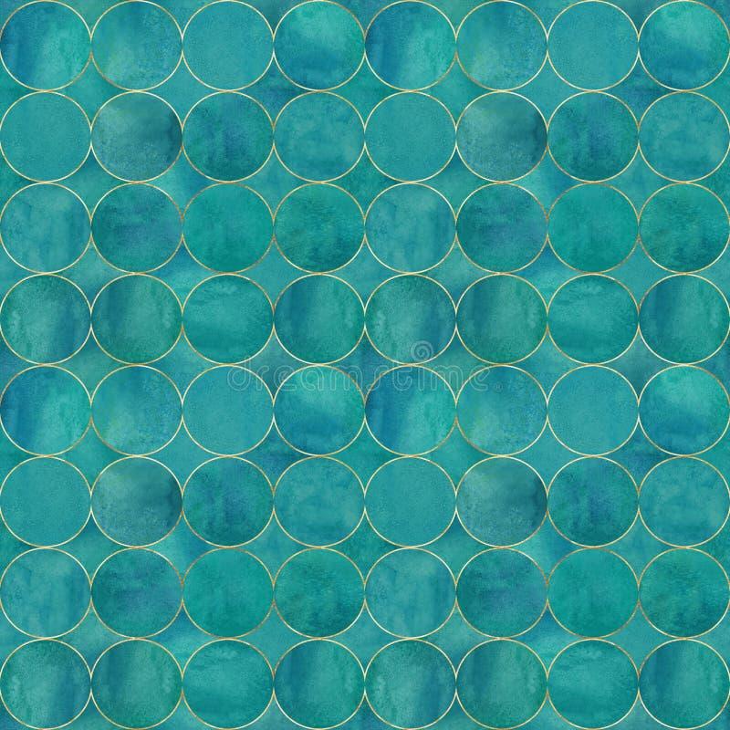 Abstrakt vattenfärgbakgrund med turkosfärgcirklar royaltyfria bilder