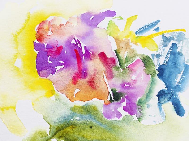 Abstrakt vattenfärgbakgrund, te för samtida konstborsteslaglängd royaltyfri illustrationer