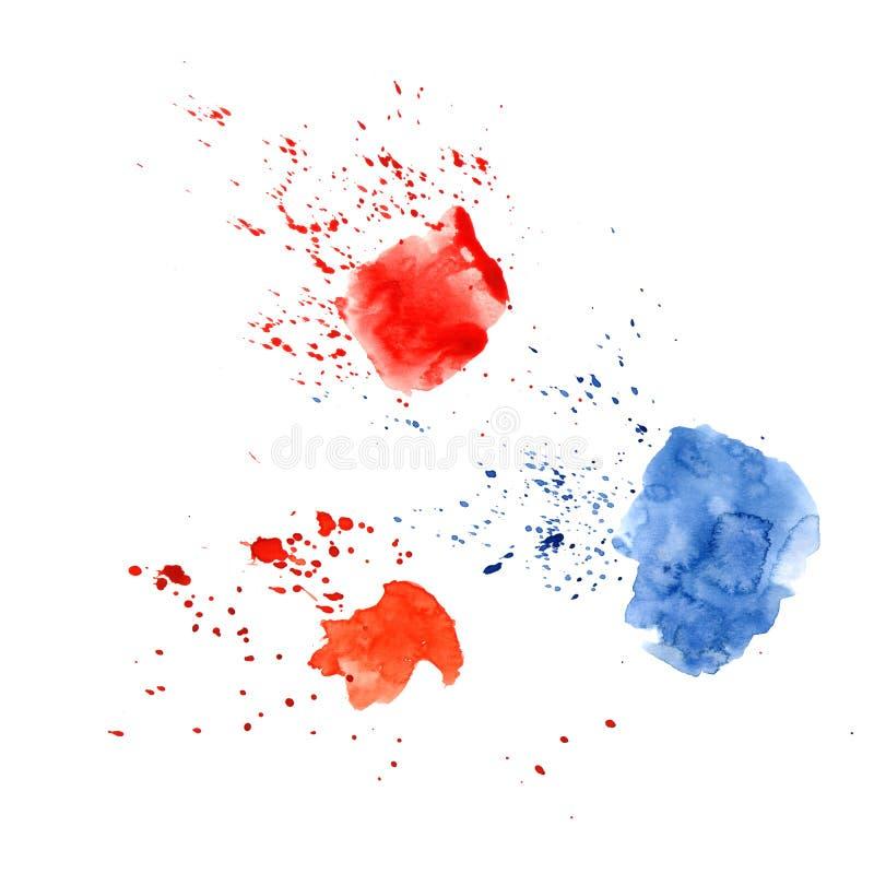 Abstrakt vattenfärgfläck med små droppar, fläckar, fläckar, färgstänk Tre ljusa röda och blåa färgfläck i grungestil royaltyfri illustrationer
