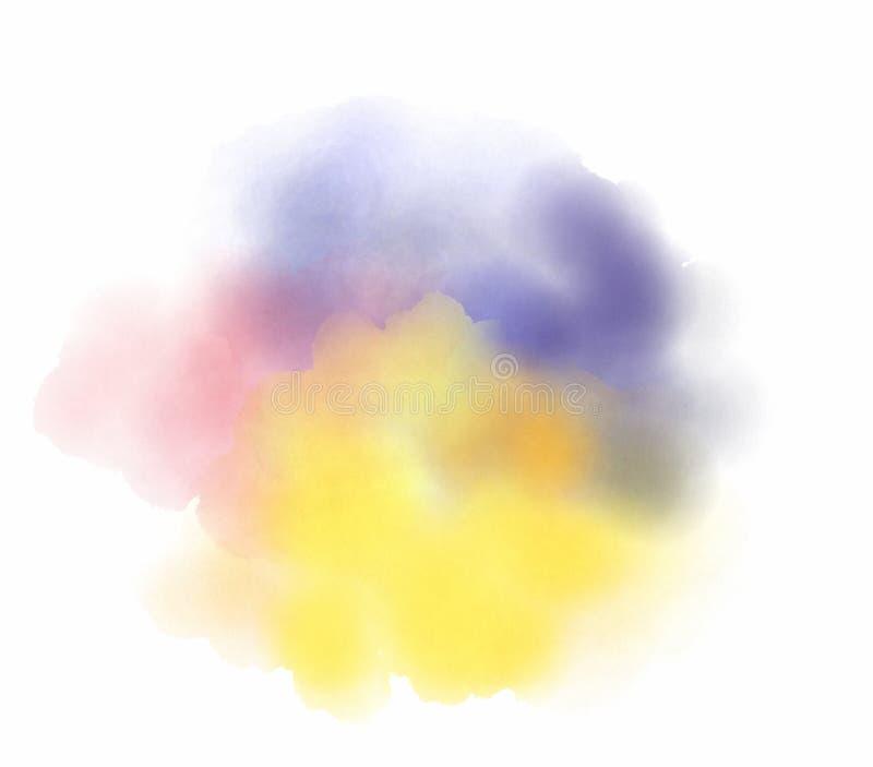Abstrakt vattenfärgfläck på vit bakgrund stock illustrationer