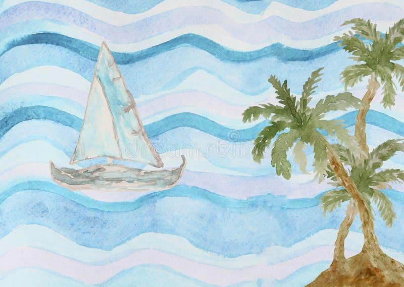 Abstrakt vattenfärghavsbakgrund med palmträd stock illustrationer