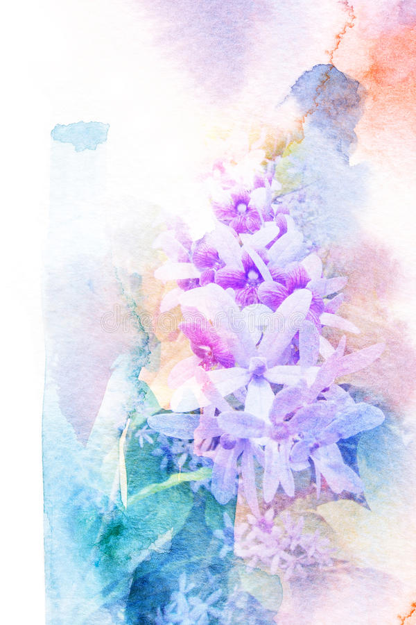 Abstrakt vattenfärgillustration av blomninglilakransen stock illustrationer
