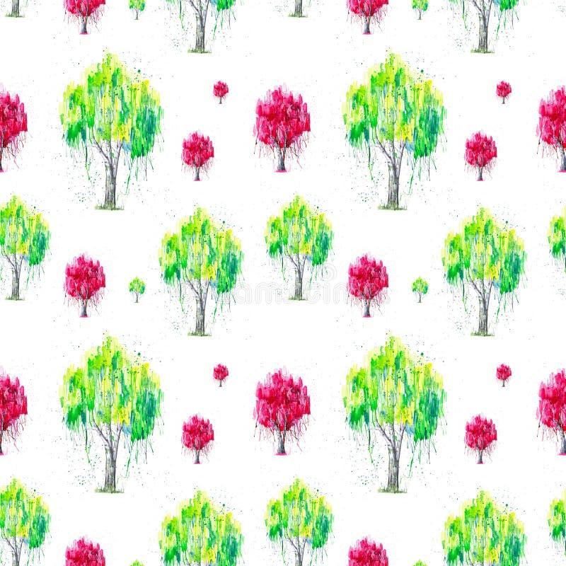 Abstrakt vattenfärgillustration av det gröna och röda ryska björkträdet med splashis som isoleras på vit bakgrund Handen målade p vektor illustrationer