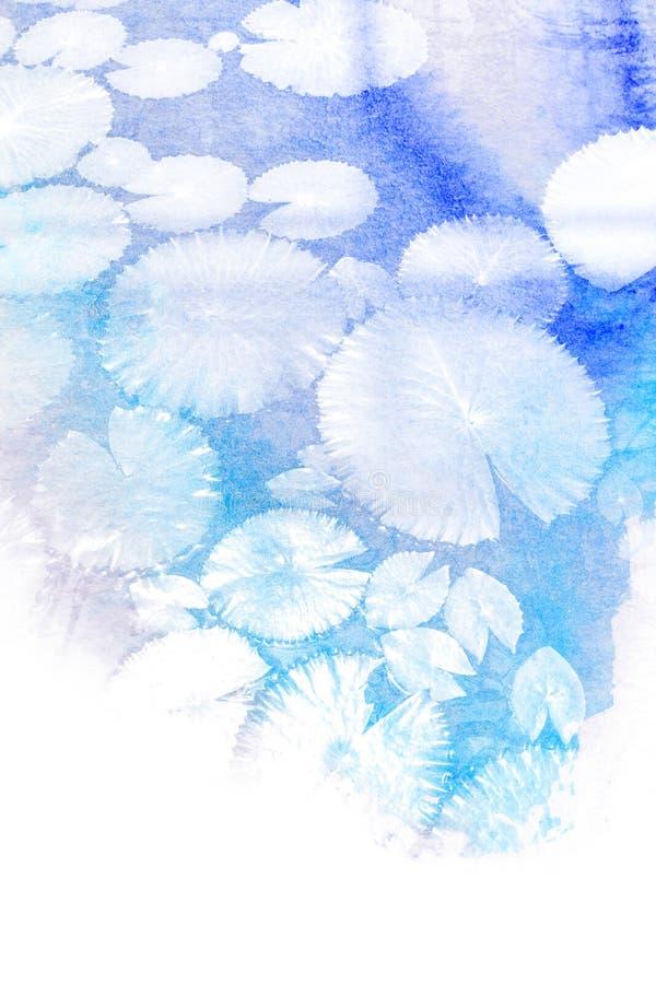 Abstrakt vattenfärgillustration av lotusblommabladet stock illustrationer