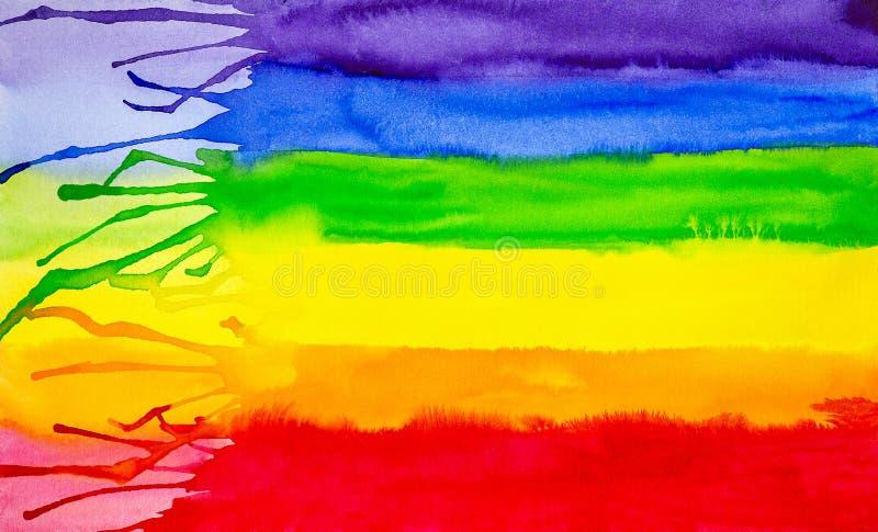 Abstrakt vattenfärgillustration av regnbågefärgbakgrund Färgspektrum royaltyfri illustrationer