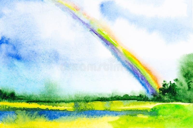 Abstrakt vattenfärgillustration av regnbågen i det ryska fältet stock illustrationer