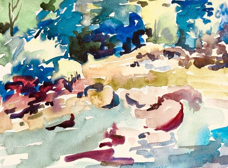 Abstrakt vattenfärgmålning av stenar i floden stock illustrationer