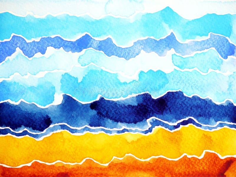 Abstrakt vattenfärgmålningbergskedja, havshavvåg, molnhimmel fotografering för bildbyråer