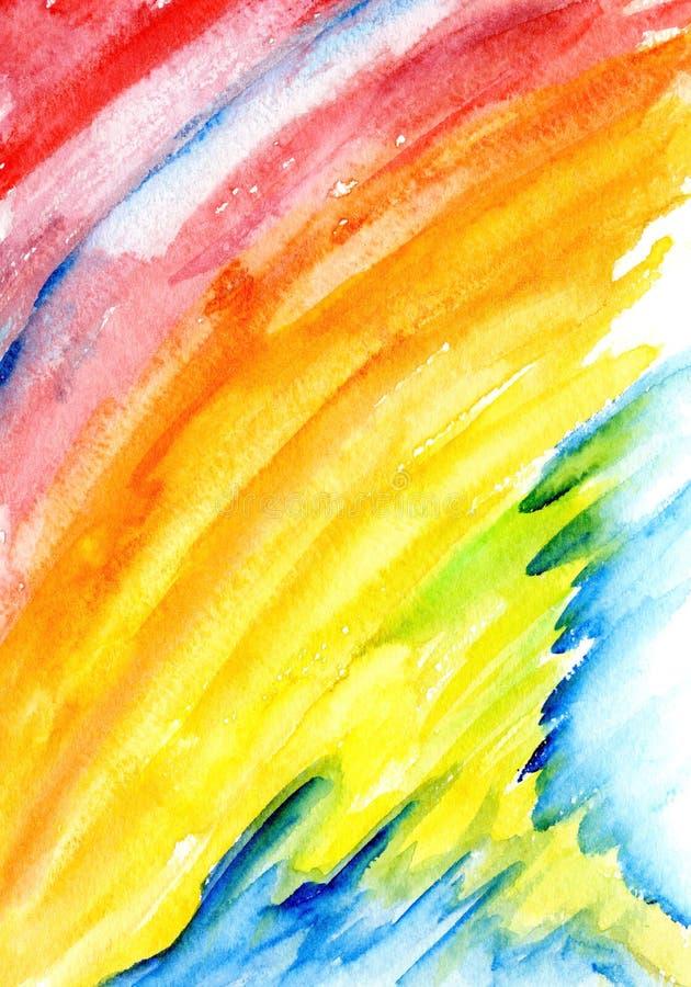 Abstrakt vattenfärgregnbågebakgrund vektor illustrationer