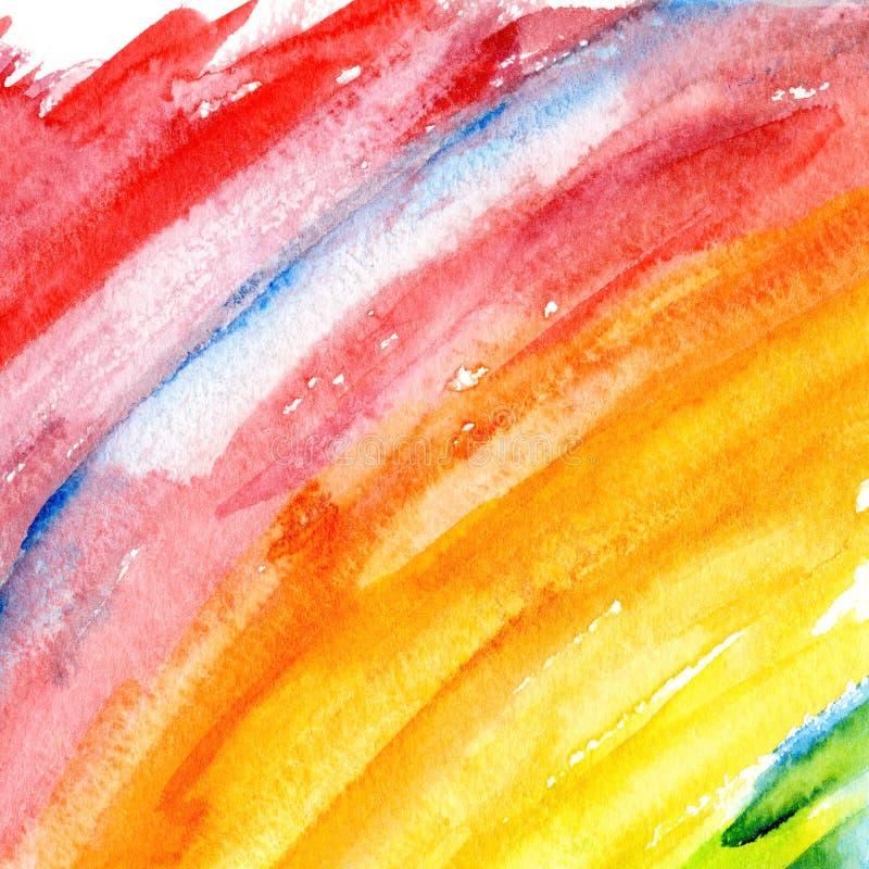 Abstrakt vattenfärgregnbågebakgrund stock illustrationer