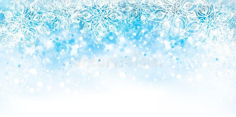 Abstrakt vektor, blått, snöflingabakgrund vektor illustrationer
