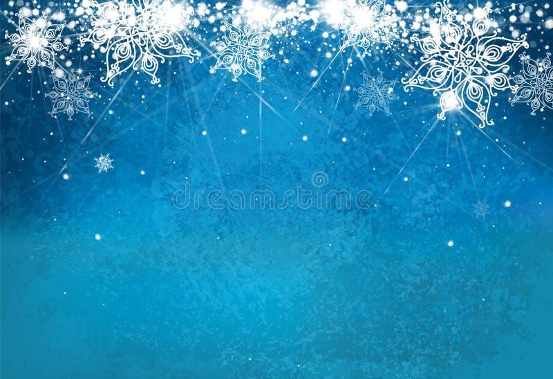 Abstrakt vektor, blått, snöflingabakgrund stock illustrationer