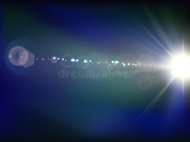 Abstrakt vektor för bakgrund för blått för utrymmeexponeringssignalljus royaltyfri illustrationer
