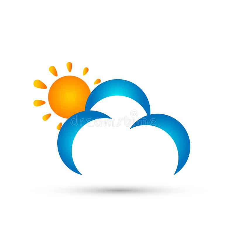 Abstrakt vektor för design för symbol för symbol för begrepp för molnsollogo på vit bakgrund vektor illustrationer