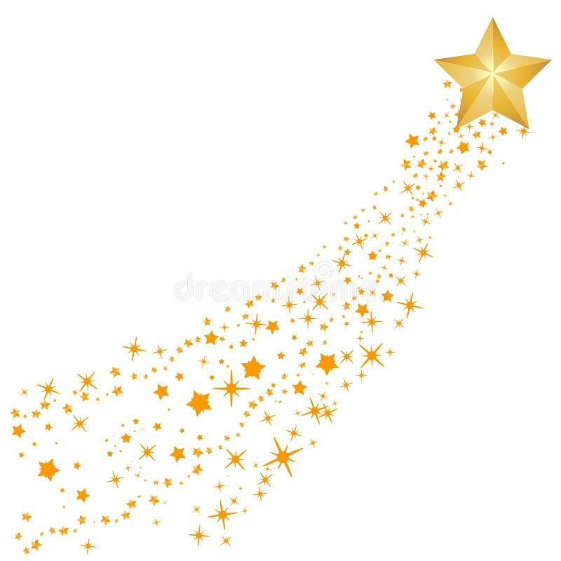 Abstrakt vektor för fallande stjärna - gul skyttestjärna med den eleganta stjärnaslingan på vit bakgrund - Meteoroid, komet, aste stock illustrationer