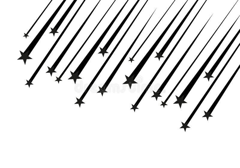 Abstrakt vektor för fallande stjärna - svart skyttestjärna med den eleganta stjärnaslingan på vit bakgrund - Meteoroid, komet royaltyfri illustrationer
