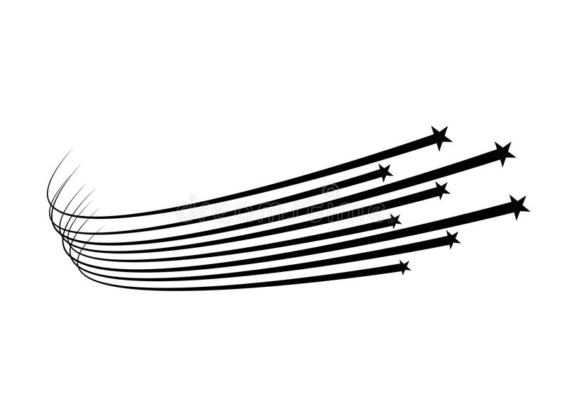Abstrakt vektor för fallande stjärna - svart skyttestjärna med den eleganta stjärnaslingan på vit bakgrund - Meteoroid, komet vektor illustrationer