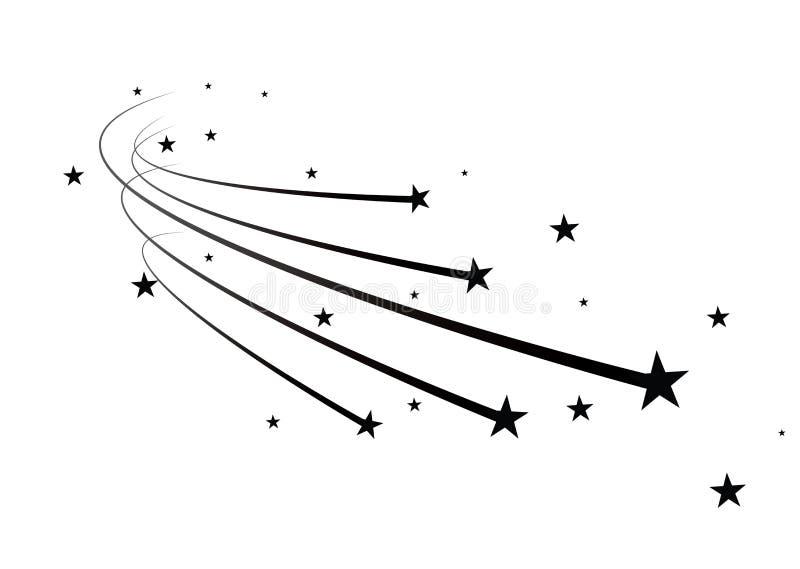 Abstrakt vektor för fallande stjärna - svart skyttestjärna med den eleganta stjärnaslingan på vit bakgrund - Meteoroid, komet stock illustrationer