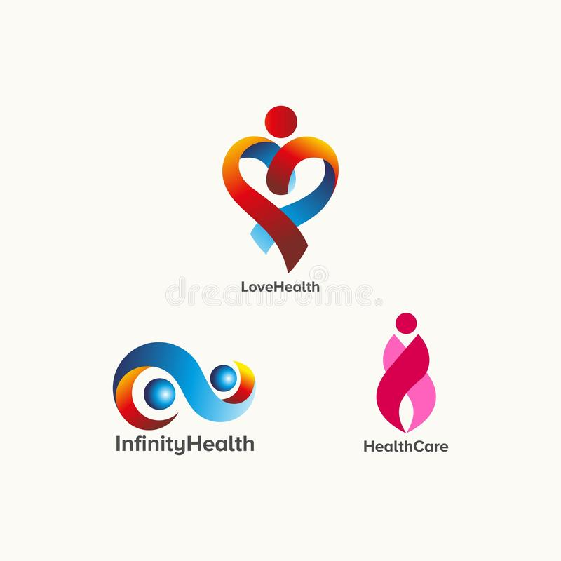 Abstrakt vektor för hälsovårdlogodesign royaltyfri illustrationer