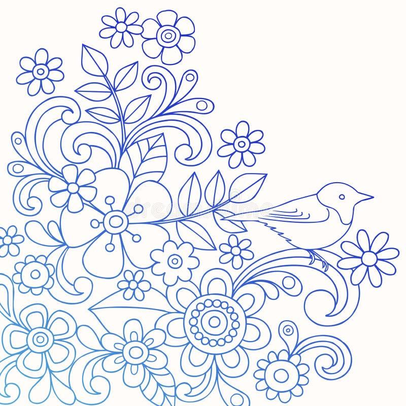 abstrakt vektor för henna för fågelklotterblomma vektor illustrationer