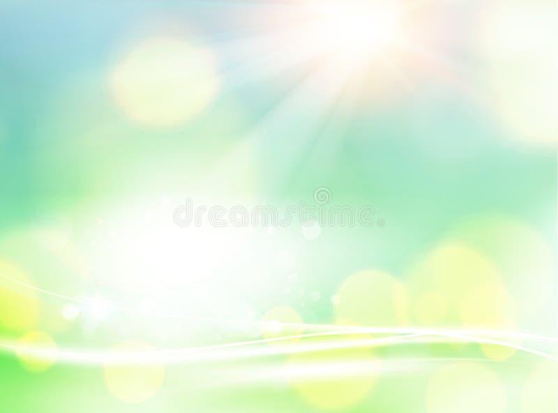 abstrakt vektor för lampa för illustration för bakgrundsbokehgreen Vita bokehbubblor på den naturliga bakgrunden Skinande futuris vektor illustrationer