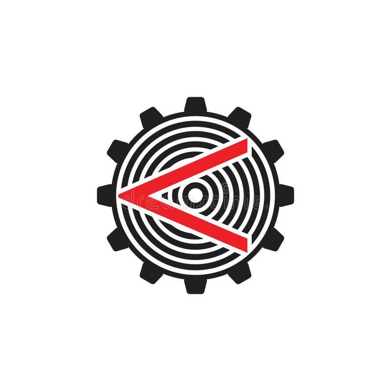 Abstrakt vektor för logo för pilkompassmaskin stock illustrationer