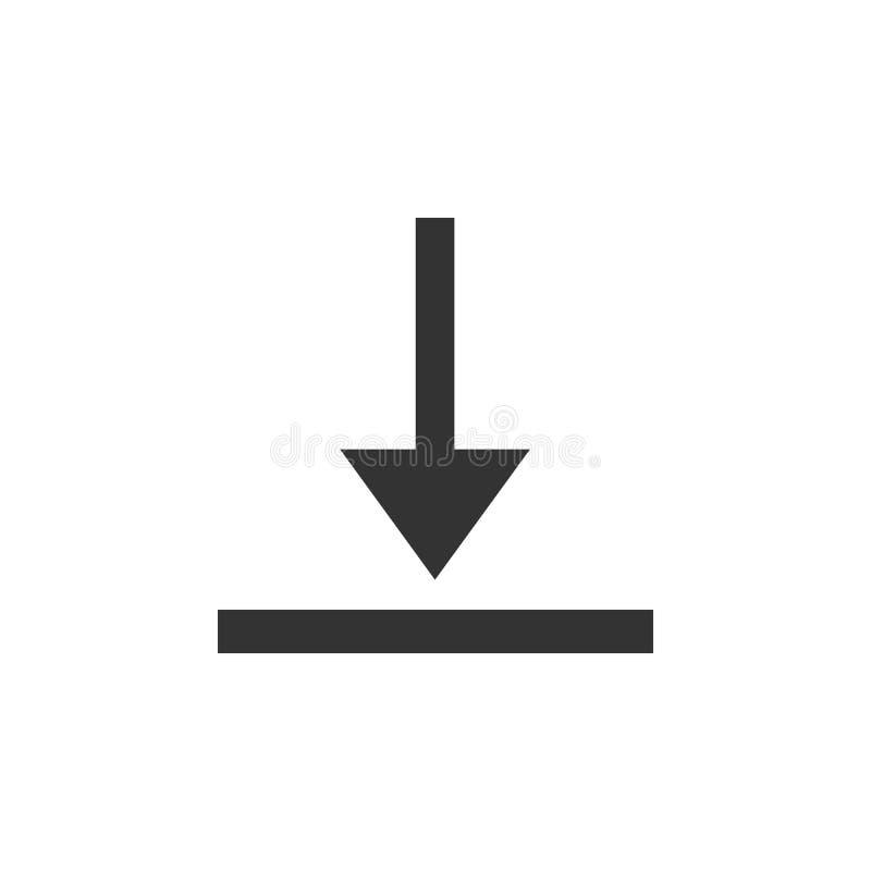abstrakt vektor för nedladdningsymbolsillustration Ladda upp, ladda tecknet, symbol också vektor för coreldrawillustration Plan d royaltyfri illustrationer