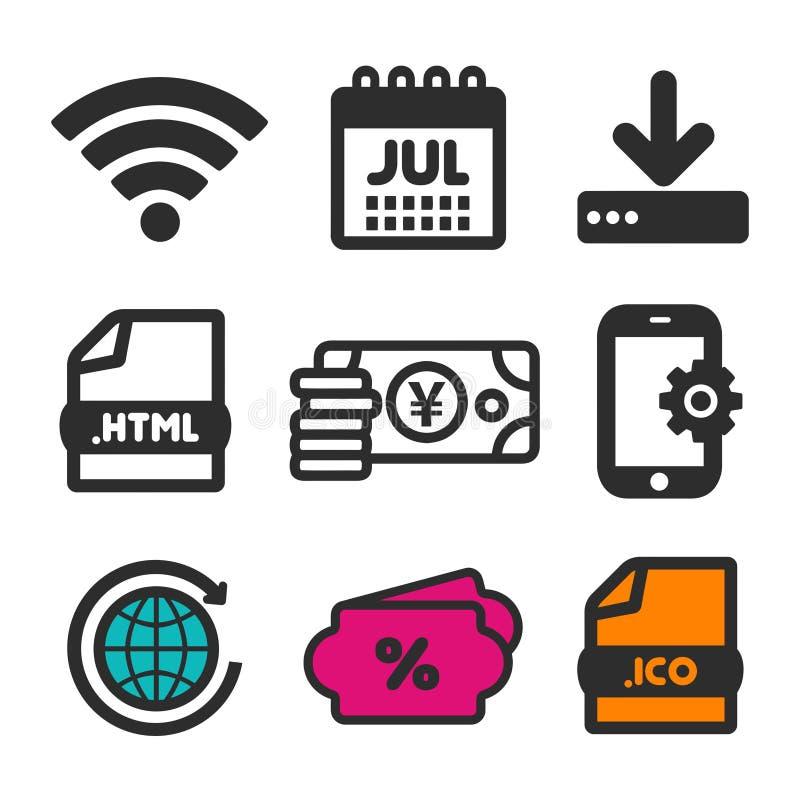 abstrakt vektor för nedladdningsymbolsillustration Shoppingförsäljningssymbol Html-dokument- och kalenderJuli symboler Jordklotci vektor illustrationer