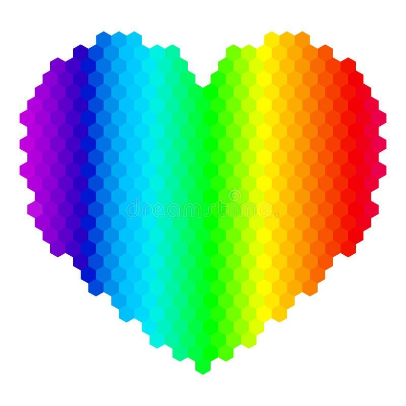 abstrakt vektor för regnbåge för bakgrundshjärtaillustration arkivfoton