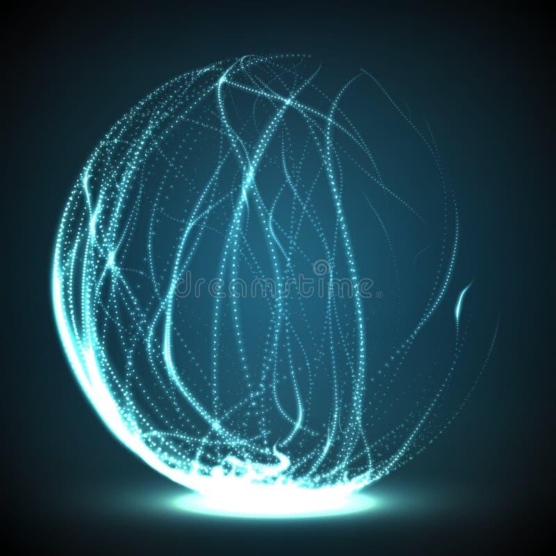 Abstrakt vektor förstörda ingreppssfärer Sfär som ifrån varandra bryter in i punkter Futuristisk teknologistil royaltyfri illustrationer