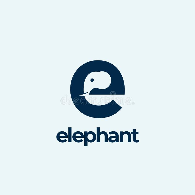 Abstrakt vektor Logo Template för elefant, tecken eller symbol Elefanthuvud som inkorporeras i bokstaven E Negativt utrymmebegrep royaltyfri illustrationer