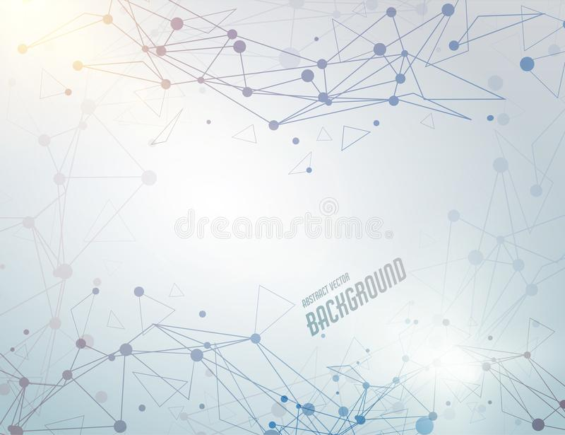Abstrakt vektoranslutningsbegrepp Wireframe ingrepp Digital högteknologisk bakgrund stock illustrationer