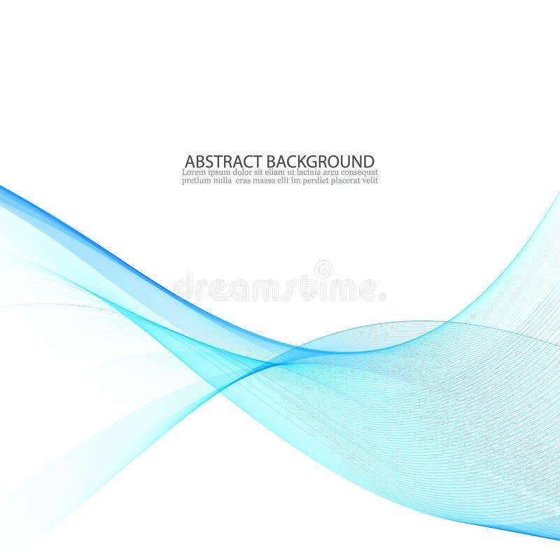 Abstrakt vektorbakgrund, blåa genomskinliga vinkade linjer Rökvåg vektor illustrationer