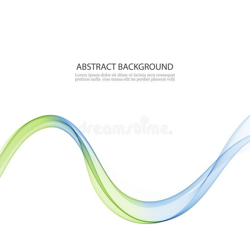 Abstrakt vektorbakgrund, blått och gräsplan vinkade linjer för broschyren, website, reklambladdesign Genomskinligt släta vågen royaltyfri illustrationer
