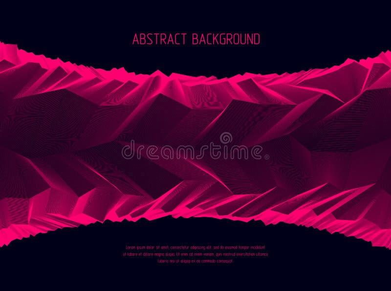 Abstrakt vektorbakgrund med fantastisk landskapterräng av den kosmiska planeten, geometrisk 3d linje konstabstrakt begreppbakgrun royaltyfri illustrationer