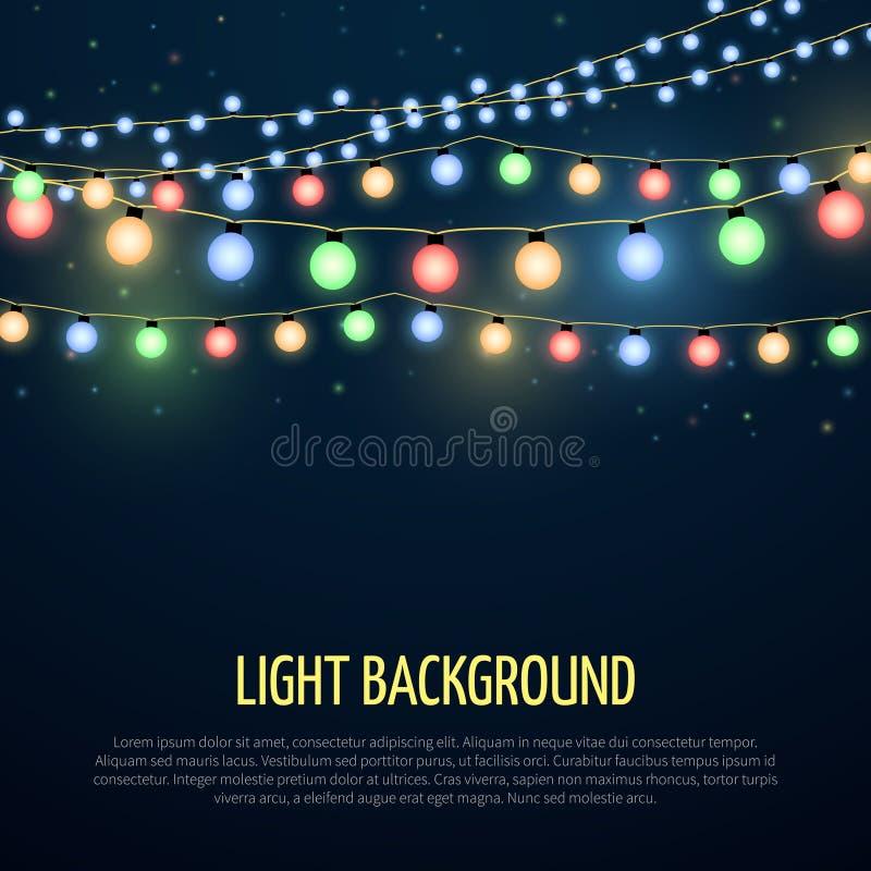 Abstrakt vektorbakgrund med julgirlandlampan tänder garnering stock illustrationer