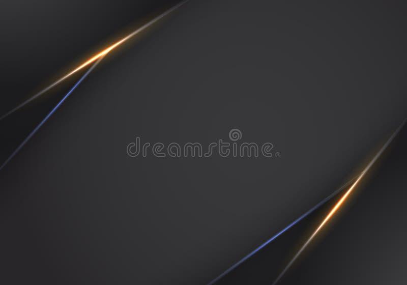Abstrakt vektorbakgrund med mörker - gråa metalllager bac för mall för design för tech för abstrakt metallisk orientering för lju royaltyfri illustrationer