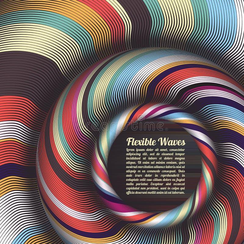 Abstrakt vektorbakgrund, vinkade linjer färgrik design för vektorillustration Krabba band som vrids som silke kulört vektor illustrationer