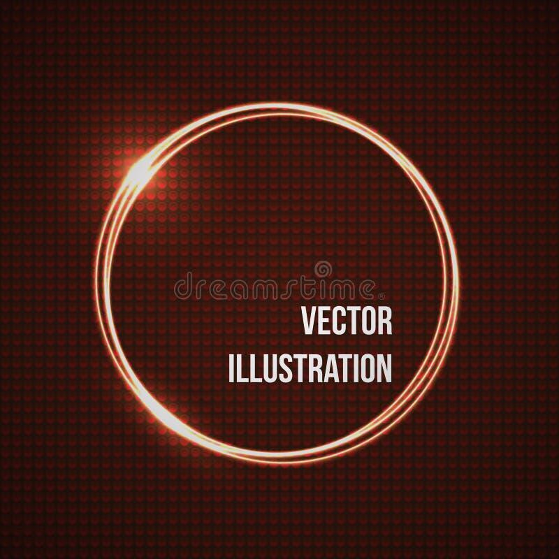 Abstrakt vektorbaner med kranscirklar Darck röd cirkelbakgrund royaltyfri illustrationer