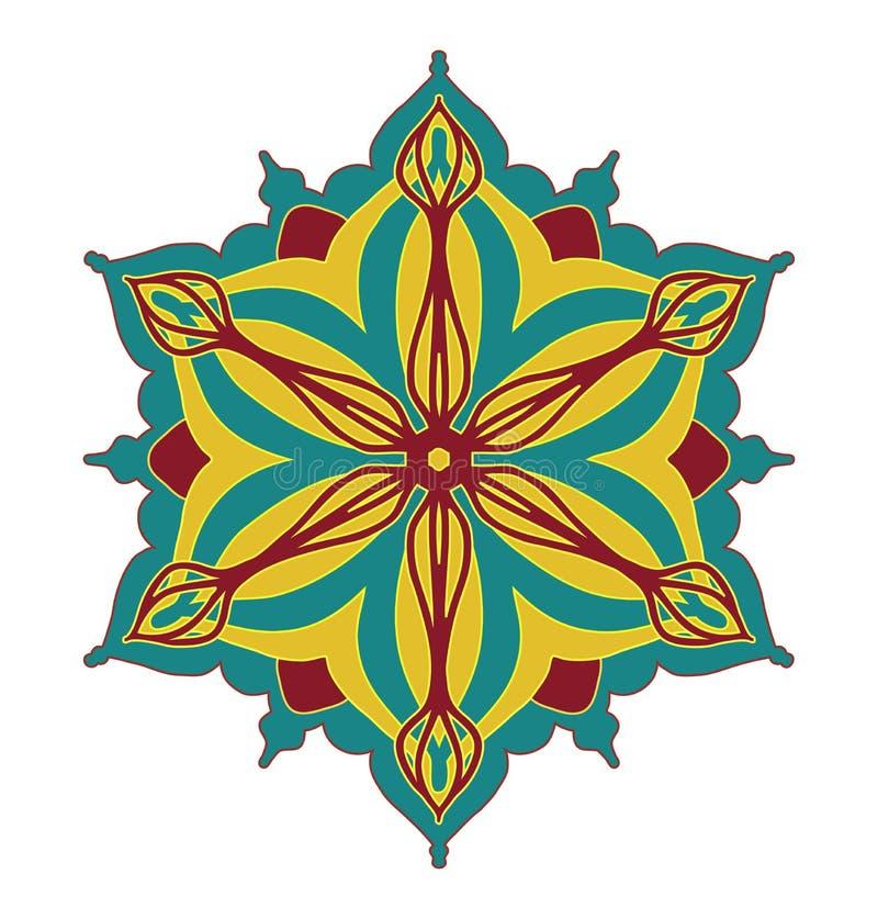 Abstrakt vektordesignbeståndsdel, symmetrisk modell för blommaform i nätta röda blått och gulingfärgkombination stock illustrationer