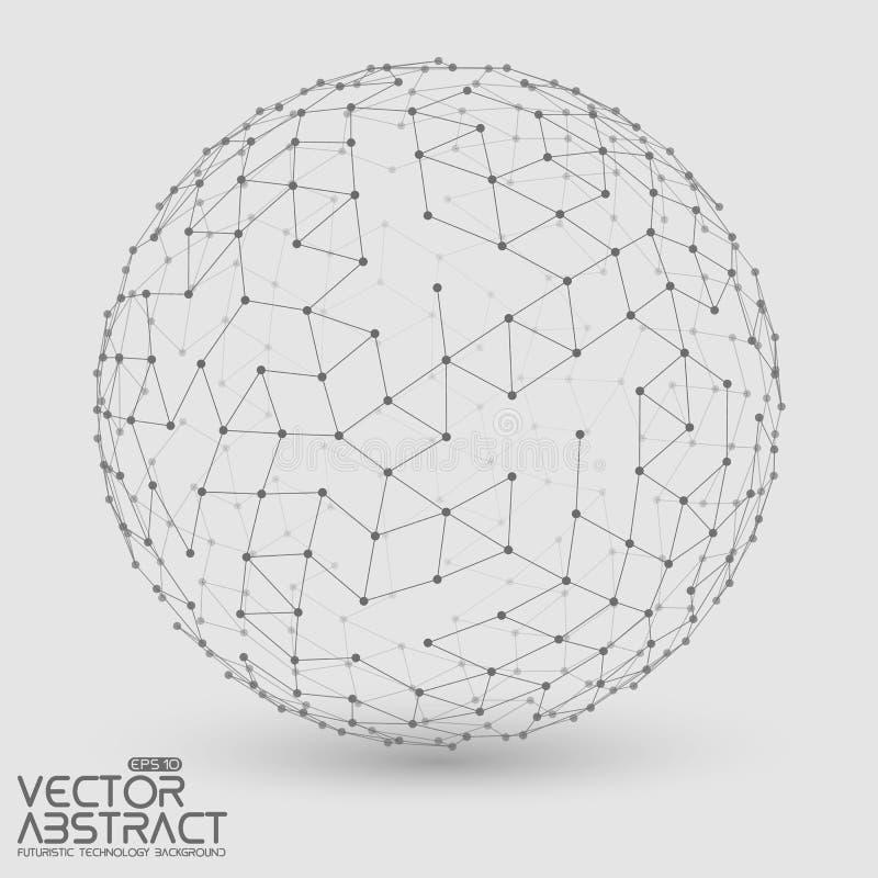 Abstrakt vektorgråtonsfär futuristic stock illustrationer