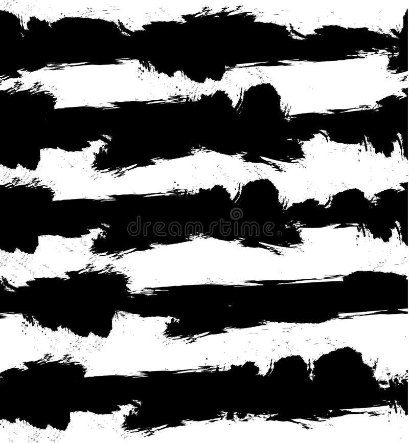 Abstrakt VEKTORgrungebakgrund med svartvita band seamless modell vektor illustrationer